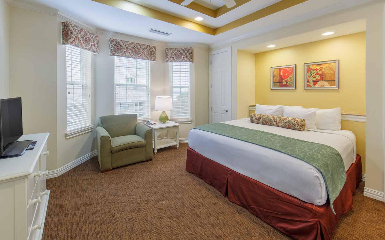 Master bedroom in a two-bedroom presidential villa at Villages Resort