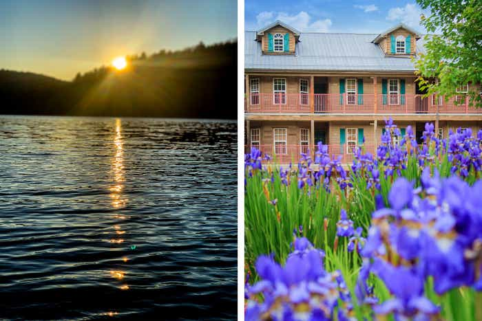 Left: The Benedict Pond Loop Trail as the sun begins to set and reflect upon the water. Right: Exterior shot of our Oak n' Spruce Resort villas.