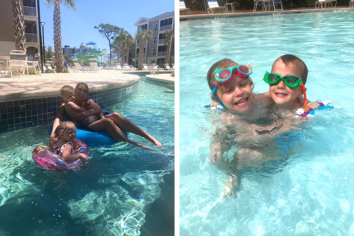 Left: Brianna and her children float along the Lazy River at our South Beach Resort located in Myrtle Beach, SC. Right: Brianna's children take a swim in their swimming goggles at our pool at South Beach Resort located in Myrtle Beach, SC.