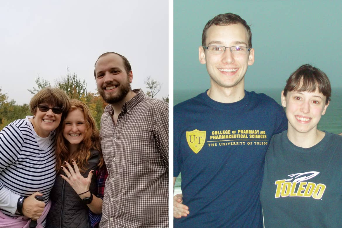 Left: Two caucasian women (left, middle) and man (right) stand together as one of the women holds her hand up with an engagement ring. Right: A caucasian man (left) and woman (right) wear navy t-shirts with their alma mater in front of a dark beachfront.