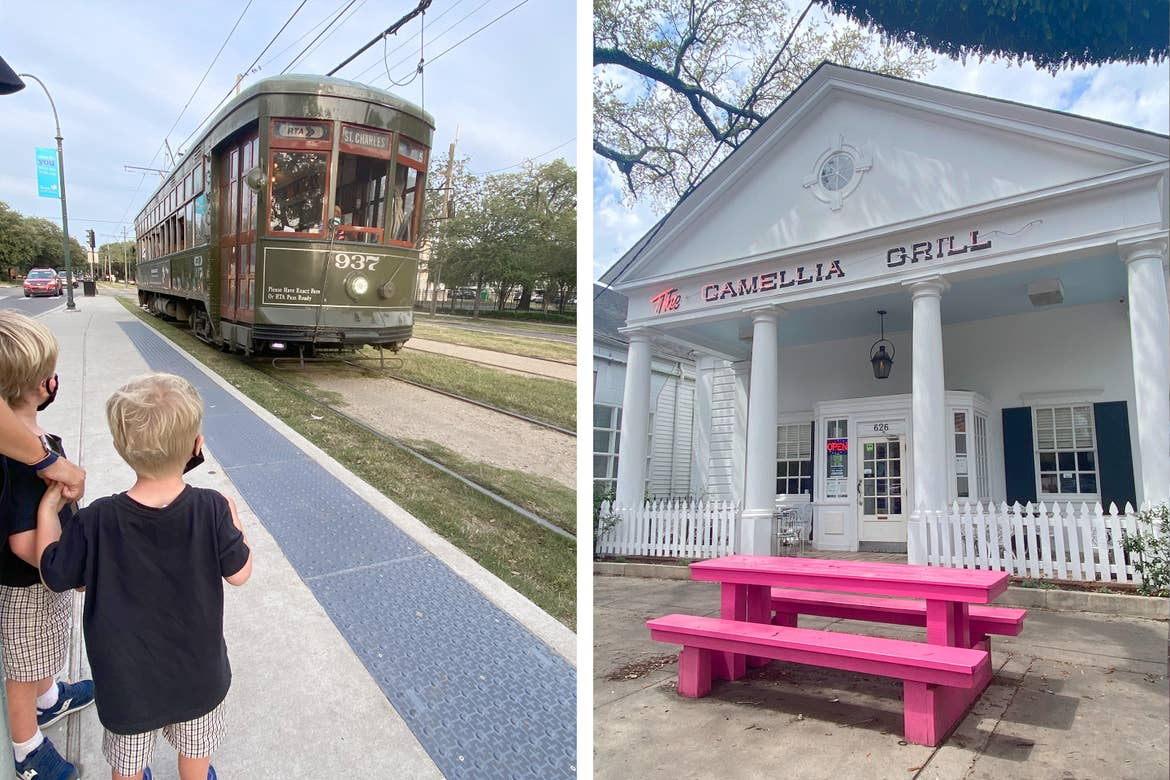Left: Two young boys wear black masks as a Streetcar approaches to board. Right: The exterior of Camelia Grill with a pink picnic table.