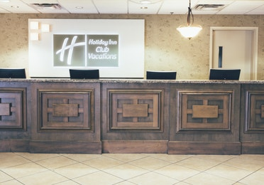 Front desk and reception in lobby of West Village at Orange Lake Resort near Orlando, Florida