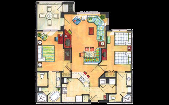 River Island two-bedroom villa floor plan