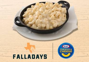 Kraft Mac & Cheese with Falladays logo.