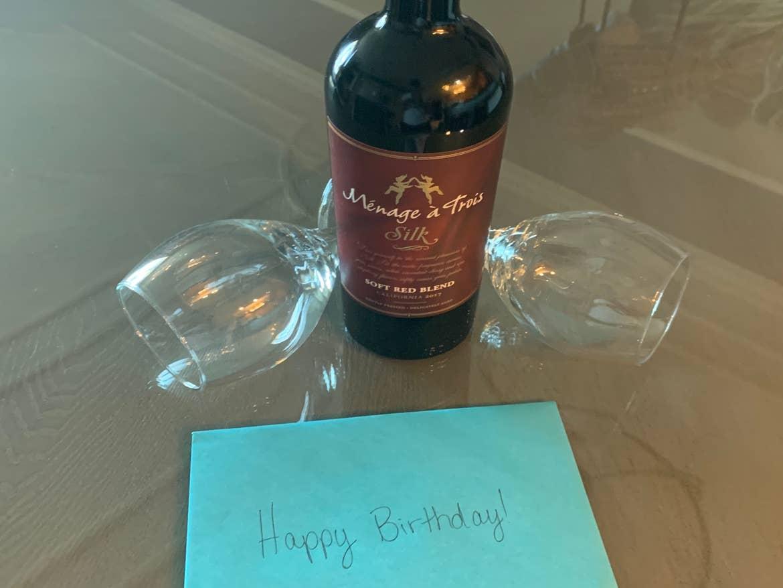 Sunset Cove Resort birthday card and wine greeting