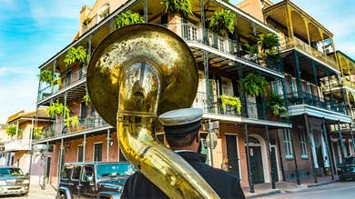 Man playing an instrument in New Orleans
