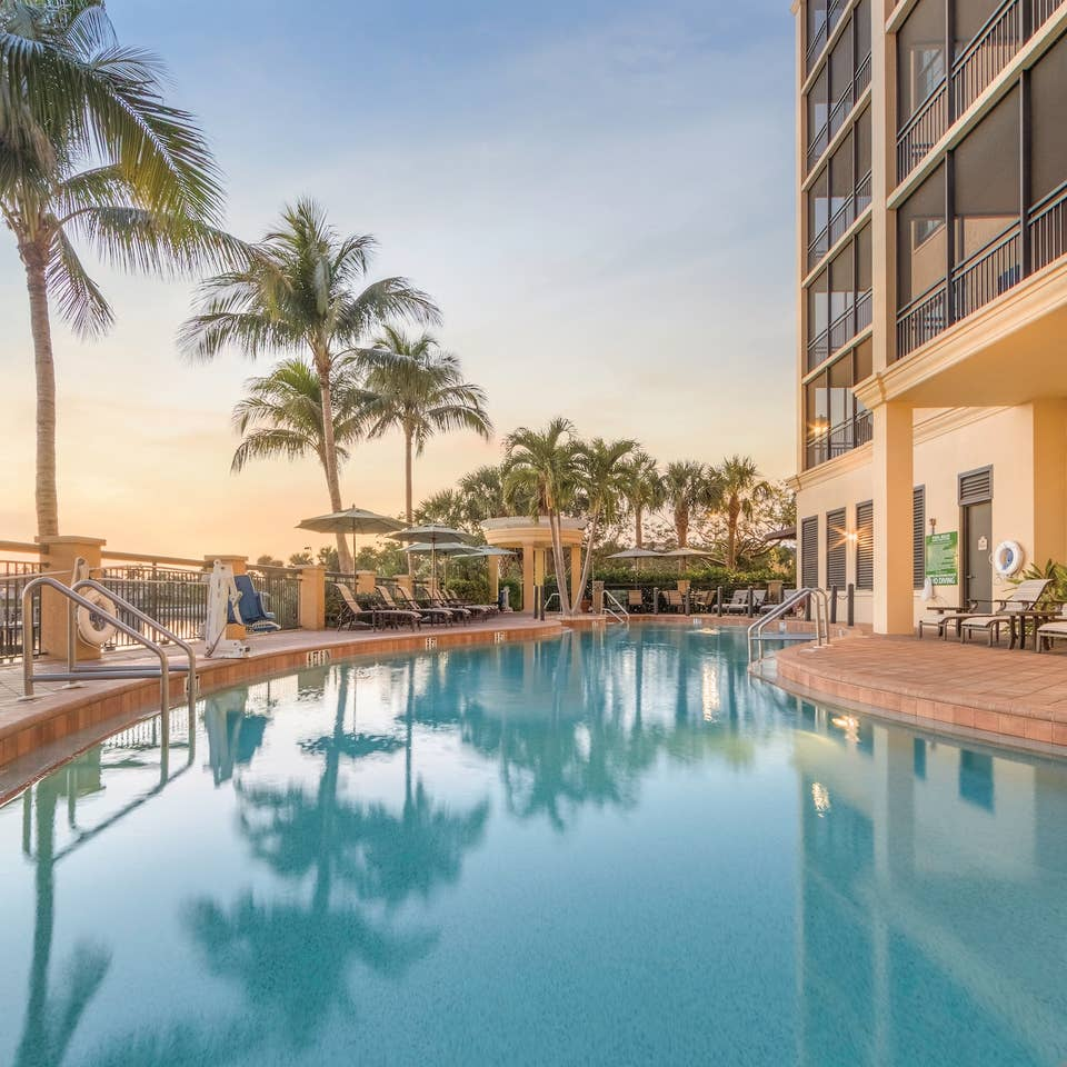 Outdoor pool at Sunset Cove Resort in Marco Island, FL.