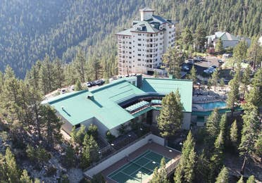 Aerial view of the Clubhouse tennis court and pool at Tahoe Ridge Resort