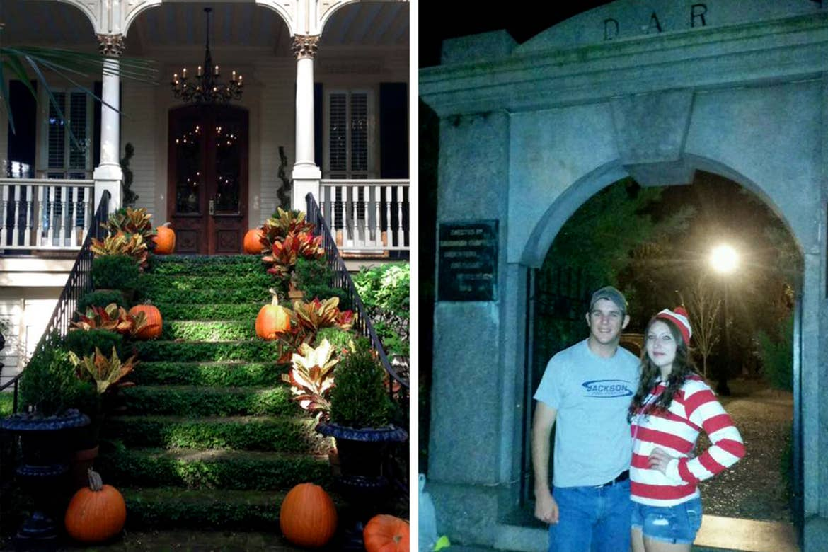 Left: A porch stairway lined with pumpkins in Historic Savannah, Georgia. Right: A couple in costume stand near a mausoleum.