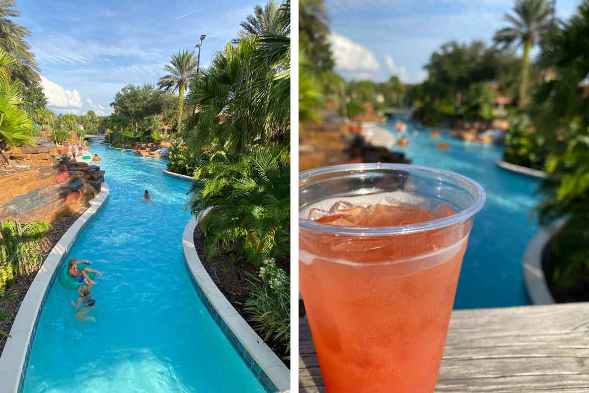 Left: Guests swim in the River Island pool at our Orange Lake resort in Orlando, Florida. Right: A pink alcoholic beverage sits on a bridge above the River Island pool at our Orange Lake resort in Orlando, Florida.