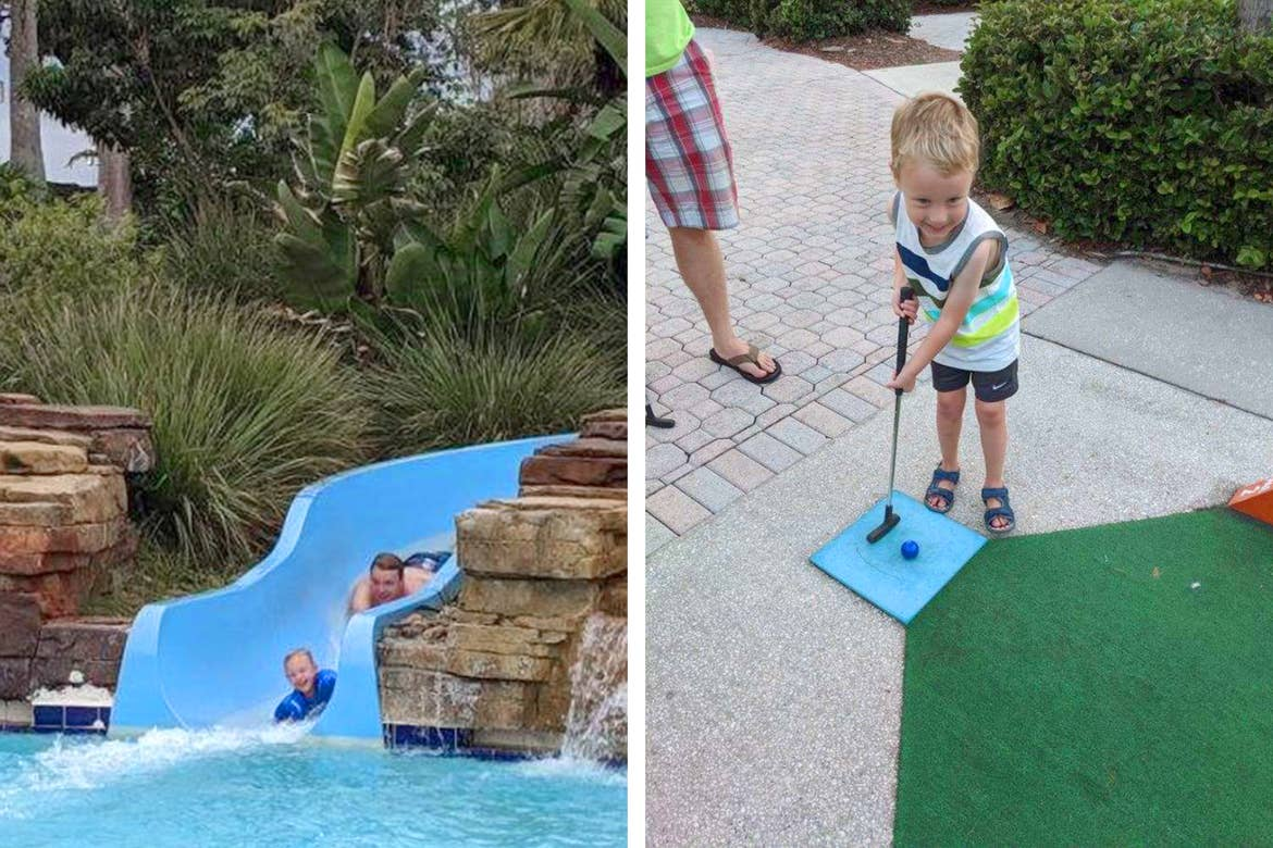 Left: A caucasian man (back) rides down a blue water slide behind a toddler (front). Right: A caucasian toddler tees up on a mini golf course.