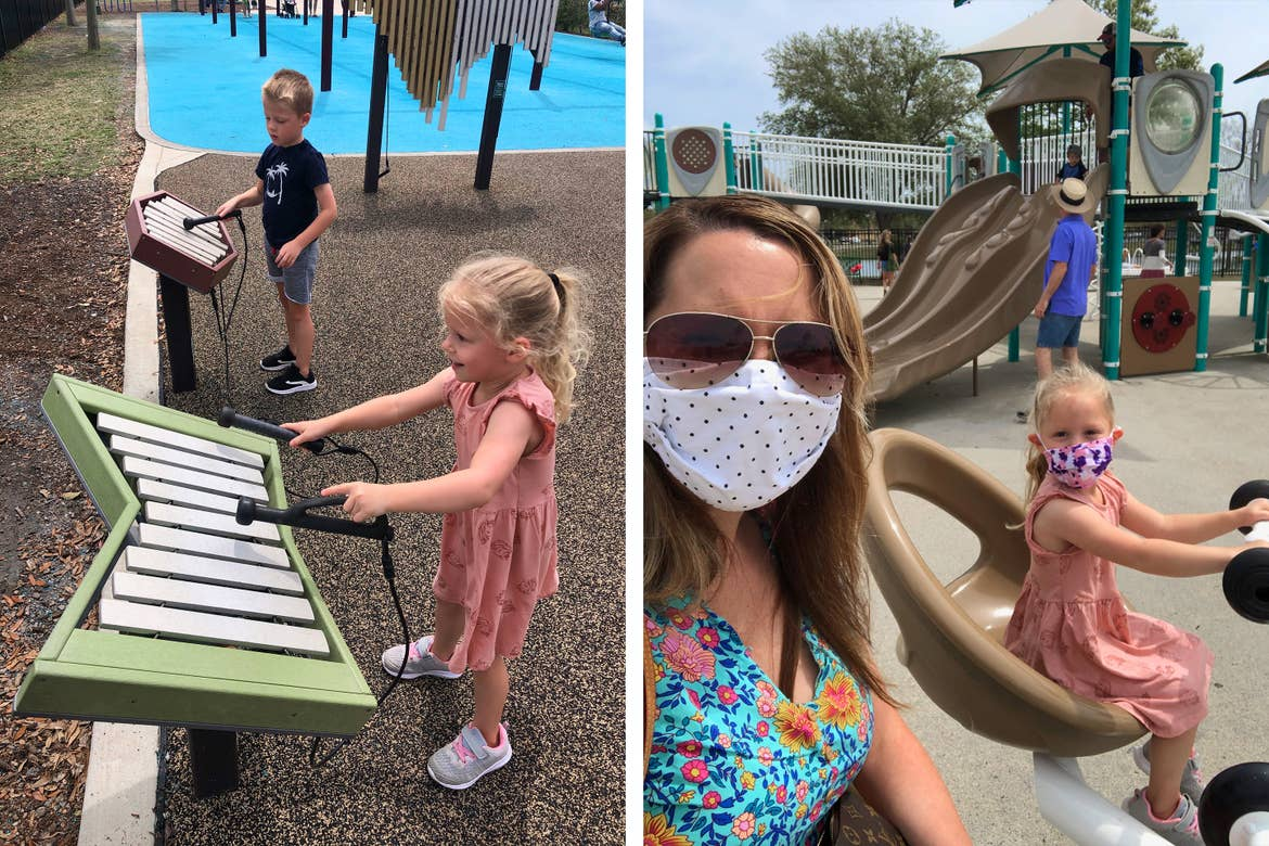 Left: Brianna's children play outdoor instrumental xylophones at Savannah's Playground in Myrtle Beach, SC. Right: Brianna and her daughter wear safety masks on a paired see-saw at Savannah's Playground.