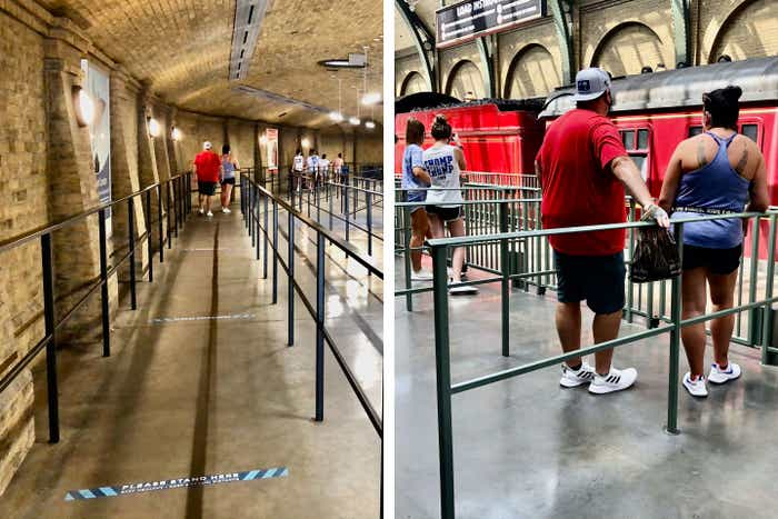 Left: Guests enter the queue for the Hogwarts Express as Safety Tape can be seen enforcing social distance. Right: Guests await on the platform to board while every other corral is empty to maintain social distance.