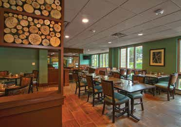 Indoor seating at The Maple Kitchen located at Mount Ascutney Resort in Brownsville, Vermont.