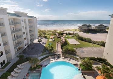 View of resort pool and beach from Galveston Beach Resort