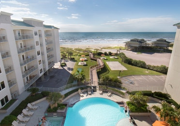 View of resort pool and beach from Galveston Beach Resort