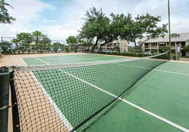 Tennis court at the Hill Country Resort in Canyon Lake, Texas.