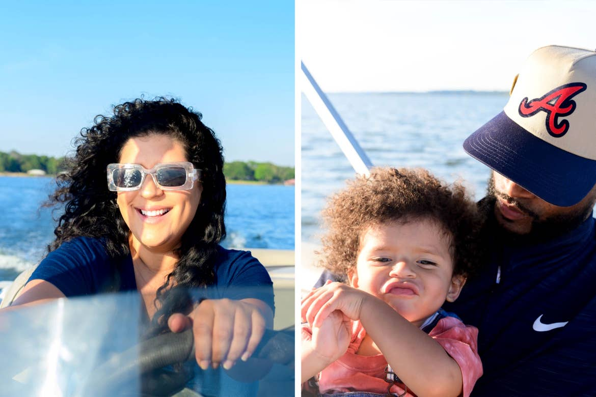 Left: A woman steers a boat in open waters. Right: A man holds a toddler boy on his lap.