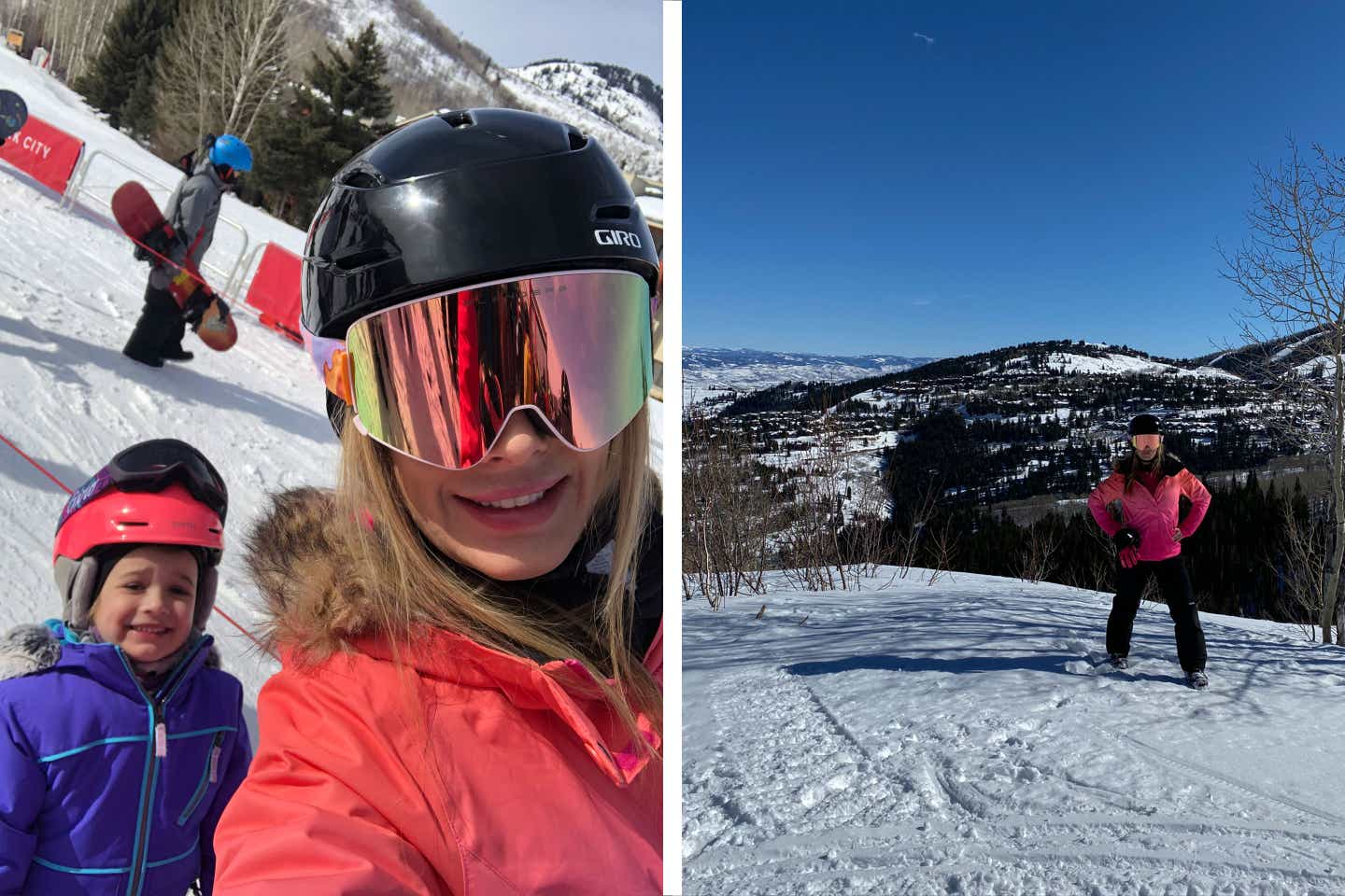 Left: Co-author, Jessica (right), wears a pink parka and black ski helmet with goggles while posing with her daughter (left) on a ski trip. Right: Co-author, Jessica, wears a pink parka and black ski helmet with goggles while posing in front of snowcapped mountains during a ski trip.