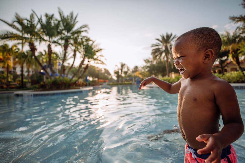 Krystin Godfrey's son, Judah in River Island at our Orange Lake Resort located in Orlando, FL.