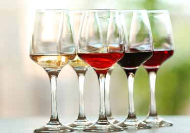 Glasses of wine filled with different kinds of wine