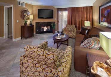 Living room in a two-bedroom villa at Desert Club Resort