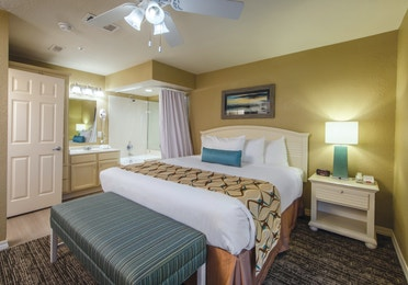 Bedroom in a two-bedroom villa at Galveston Seaside Resort