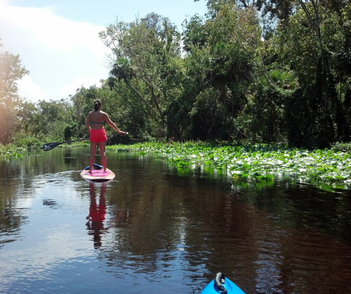Woman standing on a paddle board
