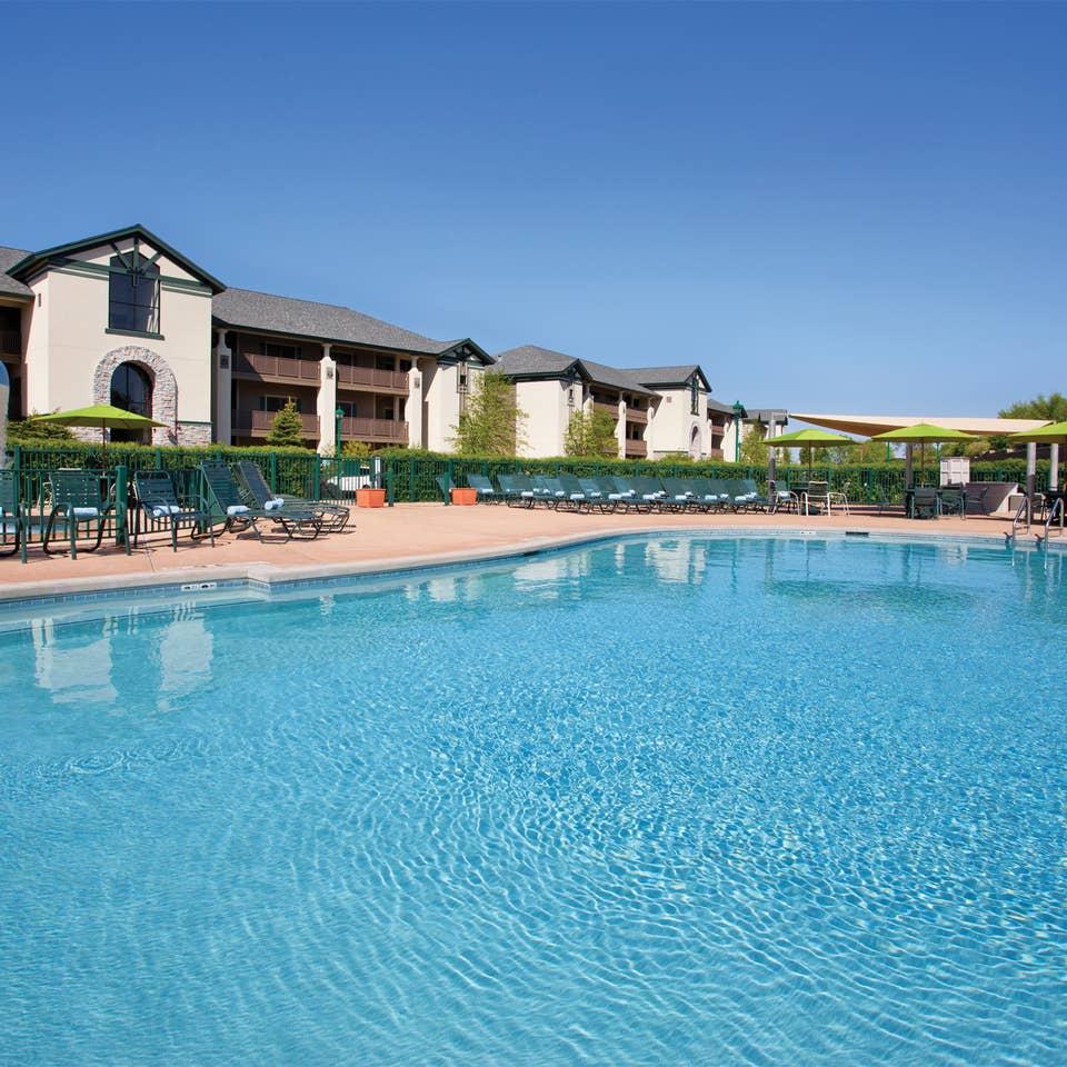 Outdoor pool at Lake Geneva Resort in Wisconsin.