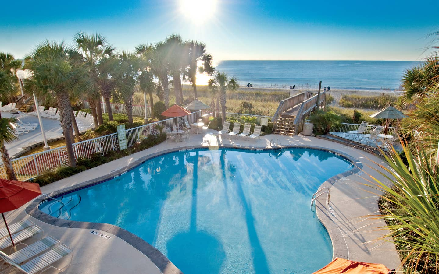 view of beach and pool at South Beach Resort in Myrtle Beach, SC