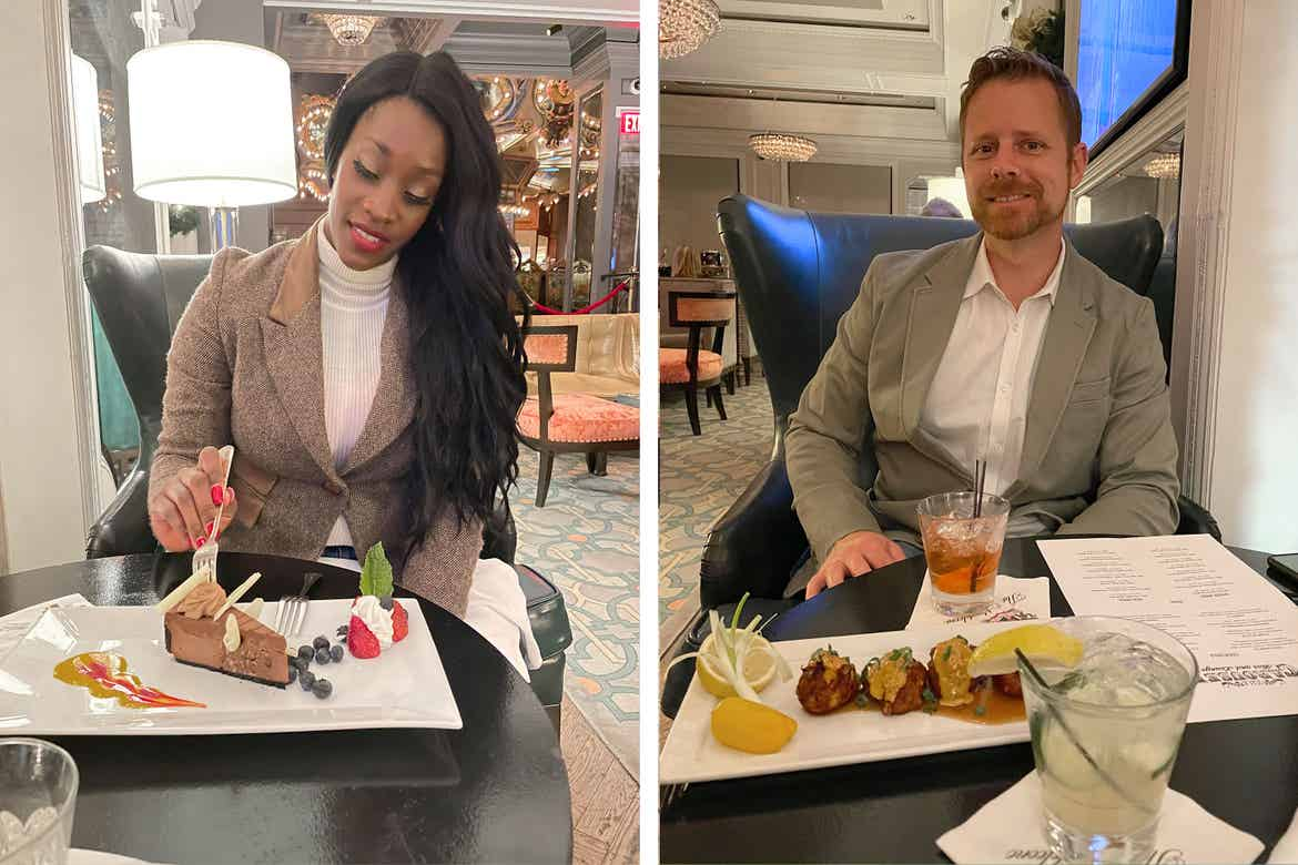 Left: Featured Contributor, Sally Butan of @butanclan wears a tweed blazer while eating a cake indoors. Right: Sally's husband, Kevin, wears a beige blazer while an alcoholic beverage and appetizers sit on the table in front of him.
