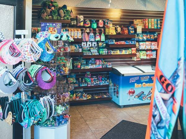Merchandise at Sun Shop in North Village at Orange Lake Resort near Orlando, Florida.