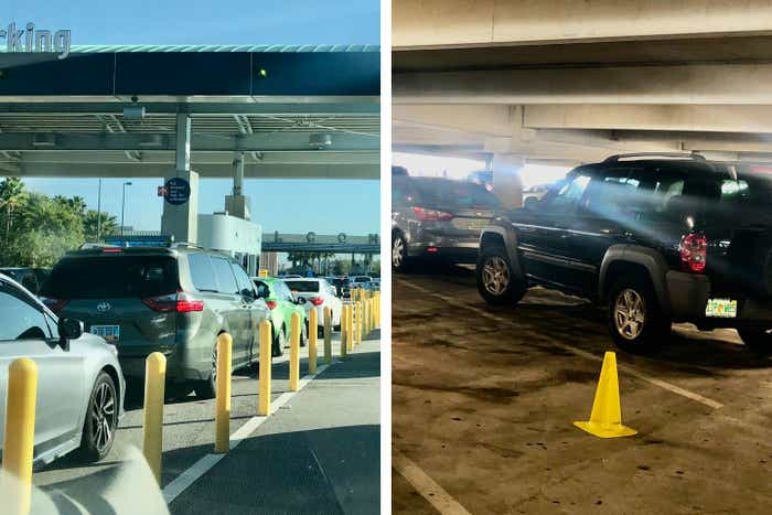 Left: Cars line up at the entrance gate for Universal Orlando's parking garage. Right: Cars are parked in every other parking space with cones to enforce social distance.