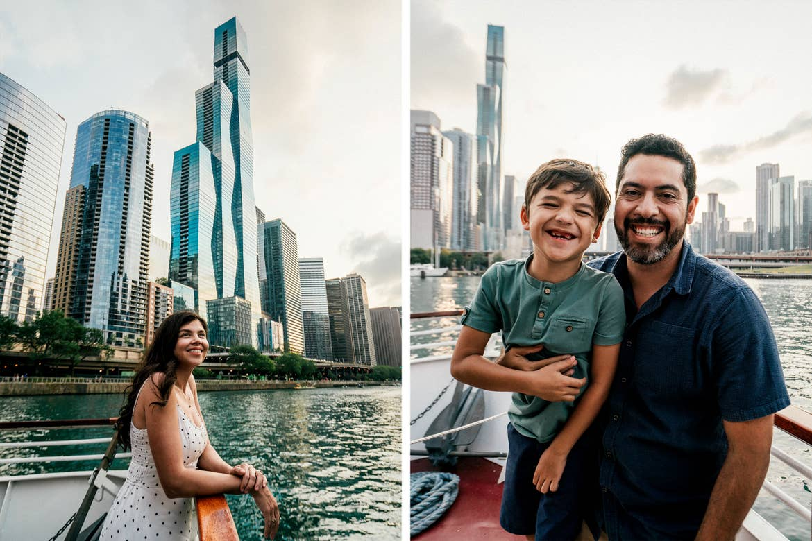 Left: A woman stands on the deck of a boat near skyscrapers. Right: A man (right) and young boy (left) stand on the deck of a boat near skyscrapers.