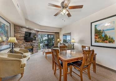 Dining area in a Ridge Pointe two-bedroom villa at Tahoe Ridge Resort