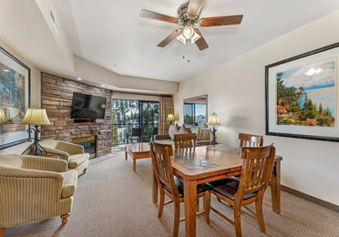 Dining area in a Ridge Pointe two-bedroom villa at Tahoe Ridge Resort