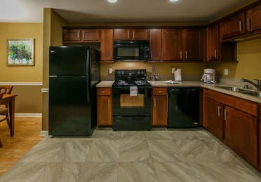Kitchen and amenities in a one-bedroom ambassador villa at the Hill Country Resort in Canyon Lake, Texas.