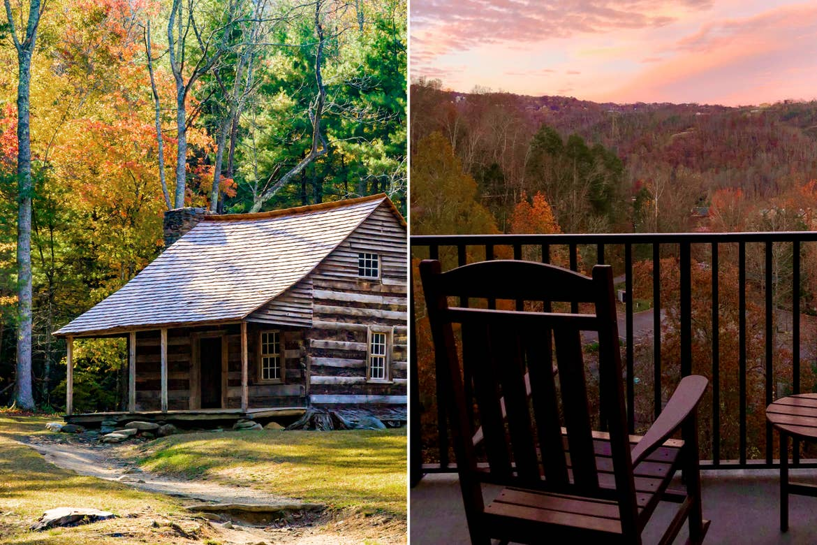 Cades Cove and view of the fall foliage from the balcony at our Smoky Mountain Resort