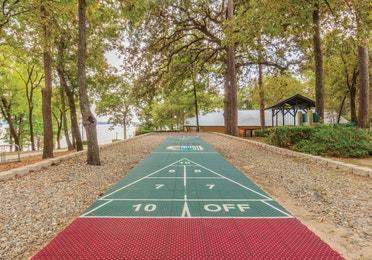Outdoor shuffleboard court at Lake O' the Wood Resort in Flint Texas.