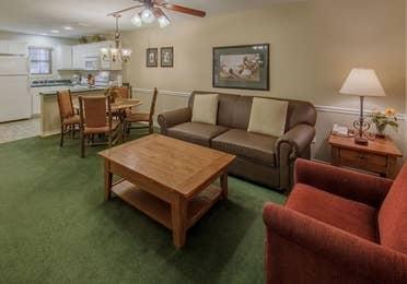 Bedroom in a villa at Holly Lake Resort in Holly Lake Ranch, Texas.