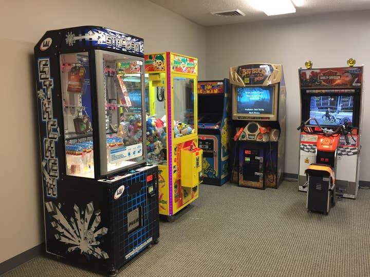 Game room with arcade games at Williamsburg Resort in Williamsburg, Virginia.