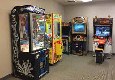 Game room with arcade games at Williamsburg Resort in Williamsburg, Virginia.