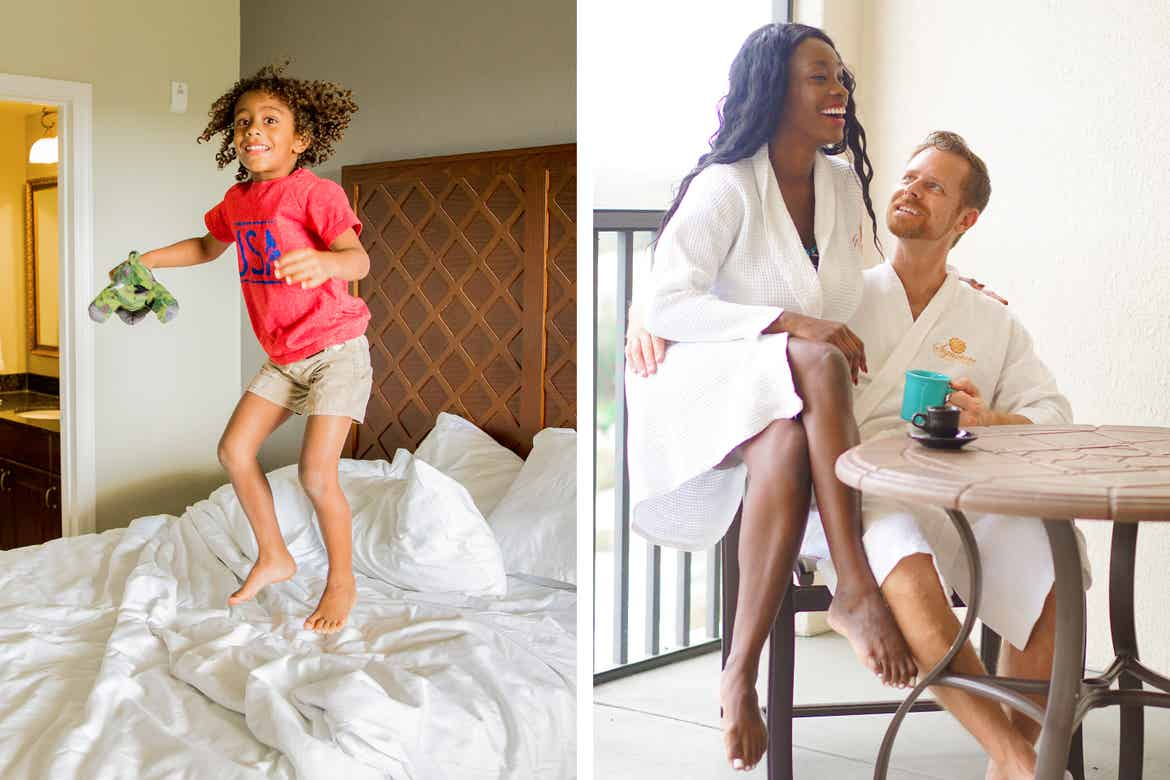 Left: Featured Contributor, Sally Butan's son jumps on the bed in our signature Collection villa at Orange Lake Resort near Orlando, Florida. Right: Sally and her husband wear white robes on the patio of our villa.