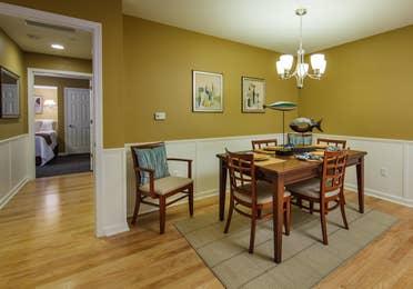 The kitchen table in a three-bedroom ambassador villa at the Holiday Hills Resort in Branson Missouri.