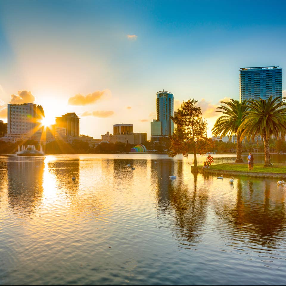 Skyline of Orlando, Florida at sunset near Orlando Breeze Resort.