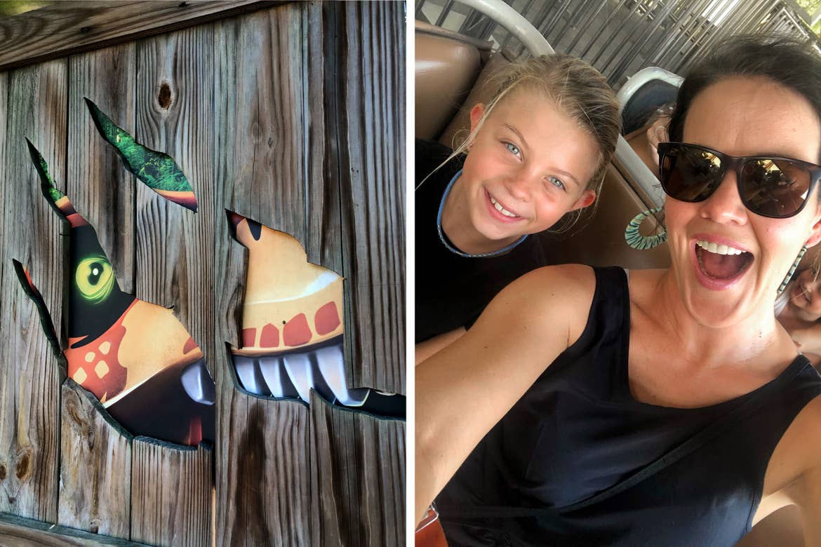 Left: A Dinosaur face peeks through a wood crate. Right: A young girl and woman sit on a ride vehicle.