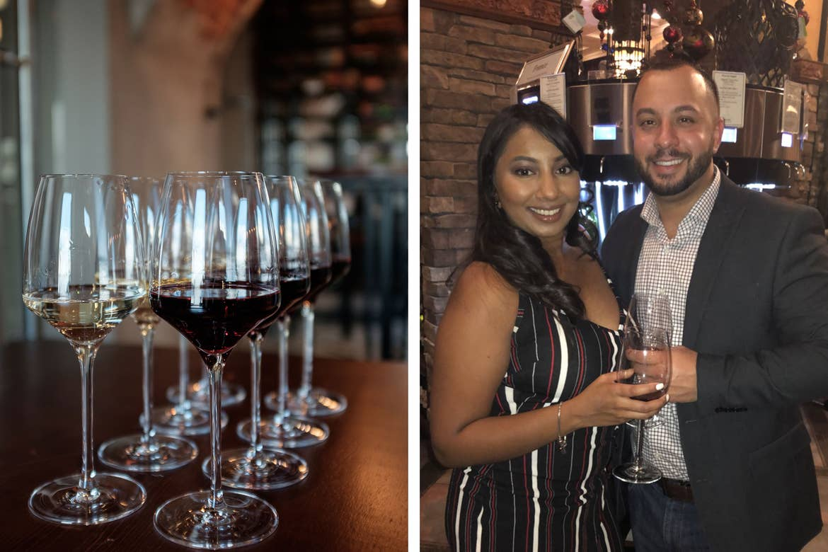 Left: A wine flight of reds and whites on a counter. Right: Featured contributor, Alex Cruz (right) stands with his wife while drinking wine indoors.