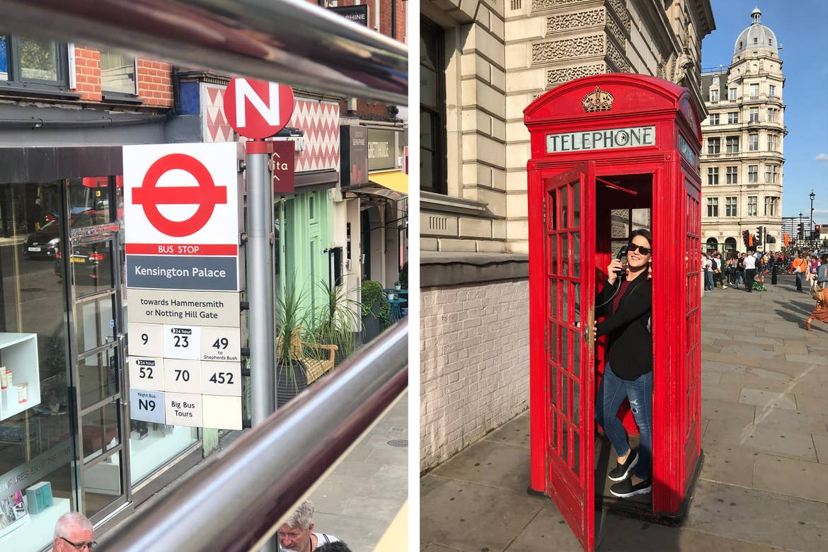 Left: A London bus stop sign with detailed information regarding routes. Right: Jenn C. Harmon stands in a red telephone booth surrounded by historical architecture in London.