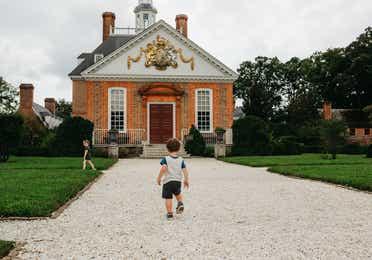 Young child exploring Colonial Williamsburg near Williamsburg, Resort.
