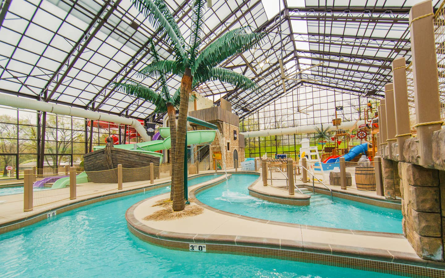 Lazy river at Pirate's Cay Indoor Waterpark at Fox River Resort in Sheridan, Illinois.